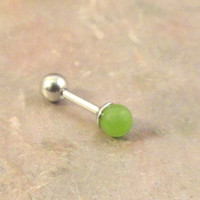 16 Gauge Light Green Adventurine Cartilage Earring Tragus Helix Piercing You Choose Stone Size