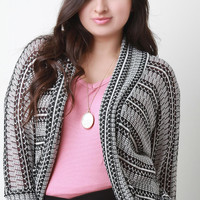 Patterned Mesh Knit Dolman Cardigan