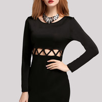 New Fashion Stylish Lady Women's Party Clubwear Pierced Long Sleeve O-neck Dress_Dresses_Women_The Latest Trends & Fashion Clothing For Women Online Store-www.dressin.com