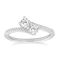 Sterling Silver 2-Stone CZ Promise Ring