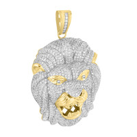 Gold Finish Lion Pendant Lab Diamonds