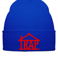 trap house embroidery hat - Beanie Cuffed Knit Cap