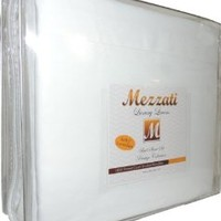 Mezzati 1800 Thread Count Brushed Microfiber Luxury Linen Bed Sheets Set, King, White