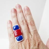 4th of July Fused Glass Ring - Adjustable Ring - Red White Blue Ring - Summertime Jewelry - Patriotic Ring - nickel and lead free