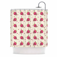 """afe images """"Chocolate Strawberries Pattern"""" Red Pink Digital Shower Curtain"""