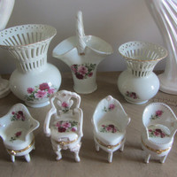 Formalities 4PC Set Small Victorian Style Chairs That all Open For Ring Storage or Trinkets