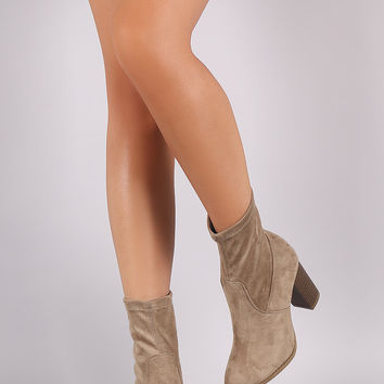 Qupid Suede Chunky Heeled Sock Booties