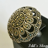 Authentic Turkish Ottoman Style Handmade 925 Sterling Silver Ring With Marcasite Stones.