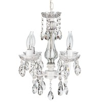 4 Light Traditional Crystal Plug-In Chandelier (White)