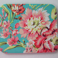 Mouse Pad / mousepad / Mat - Fabric - love Bliss Bouquet in Teal  - Rectangle or round - desk office accessory coworker gift