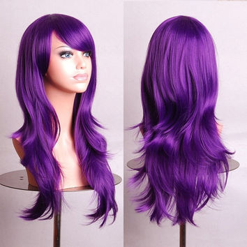 Women Girls 70 cm long curly cosplay Party Wig (Color: Purple) = 1845641156
