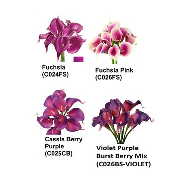 Pack of 10- Real touch calla lily-Fuchsia Burst berry