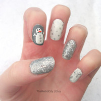 Simple Christmas, New Years Eve Nail Art, Stocking Filler, Gift, Festive, False, Fake, Acrylic, Press On Nail Set