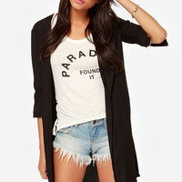 Casual Black Chiffon Open Front Slit Cardigan