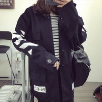 OFF-White Popular Women Men Leisure Print Lapel Cardigan Jacket Sports Coat Windbreaker