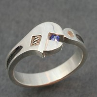 WRENCH WEDDING BAND  with Genuine Sapphire.  A real wedding ring.