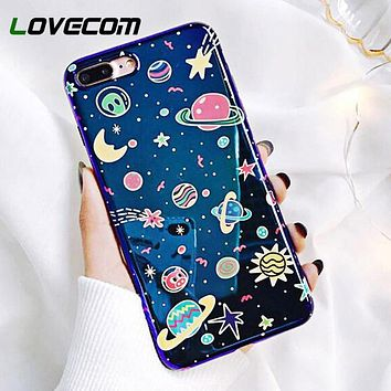 Cute Universe Phone Case For iPhone 11 Pro Max XR XS Max X 8 7 6 6S Plus Blu-Ray Moon Star Planet Glossy Back Cover Gift