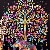 WATERCOLOR ELEPHANT TAPESTRY : Tree of Life, Elephant, Tapestry, Indian, Tie-Dye, Hippie, Urban Outfitters, Watercolor, Wall Decoration