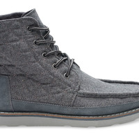 CASTLEROCK GREY QUILTED WOOL AND SUEDE MEN'S SEARCHER BOOTS