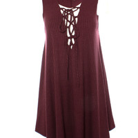 DejaVu Fit Rib Knit Sleeveless Jumper with Lace Up Front Detail (Cranberry)