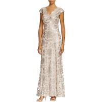 Tadashi Shoji Womens Lace Sequined Evening Dress