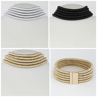 """16""""  5 layer coil choker collar necklace multi layer magnetic closure 5 row"""