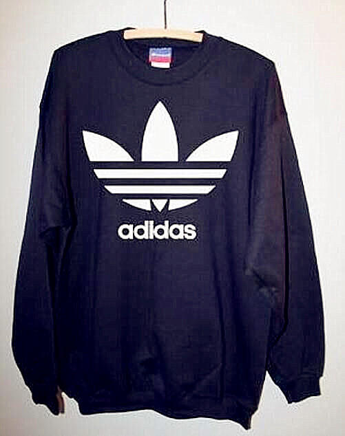 """Image of Fashion """"Adidas"""" Print Sweater Pullover Tops Sweater Sweatshirts Black high quality"""