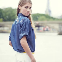 Blue Denim Floral Embroidered Long-Sleeve Shirt With Pockets