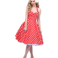 1950s Style Red & White Dotted Halter Meriam Swing Dress