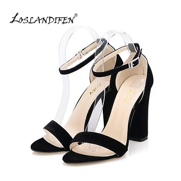 Women Pumps Open Toe Sexy Ankle Straps High Heels Shoes Summer Ladies Bridal Suede Thick Heel Sandals
