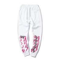 Off-White hip hop street casual letter print bouquet foot sports trousers