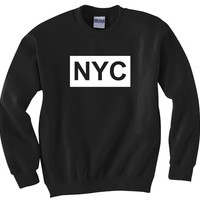 NYC Crewneck Sweatshirt Long Sleeve Womens Love hate New York Fashion Swag Dope Illest crop boyfriend vintage shop custom