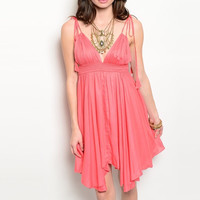 Deep Plunge Empire Waist A Lined Flowy Dress in Coral