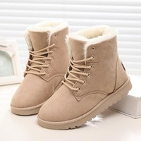 Fashion Online 2016 Winter Woman Boots Lace-up Solid Flat Ankle Boot Casual Round Toe Women Snow Boots Fashion Warm Plus Cotton Shoes St903