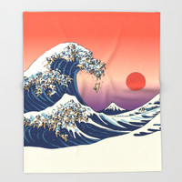 The Great Wave of Pug   Throw Blanket by Huebucket