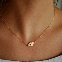 Contracted Fashion Hand Shape Short Amount Ossicular Chain Necklace