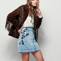 Blue Pockets Buttons Front Embroidery Denim Skirt [6240898692]
