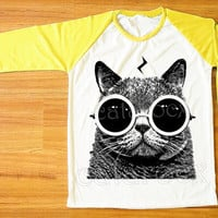 Cat Pott Head T-Shirt Cat Glasses Shirt Cat Shirt Raglan Tee Yellow Sleeve Shirt Women T-Shirt Men T-Shirt Unisex T-Shirt Baseball Tee S,M,L