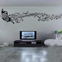 Music butterfly wall decal sticker Home room art Decor VINYL removable Black C