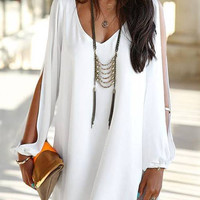 White V-neck Dress With Split Sleeve