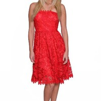 Beautifly 3d Lace Strapless Wedding Prom Women Red Dress