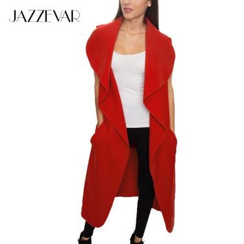 JAZZEVAR 2017 Newest Spring Wasserfall Mantel Women's Wool Blend Vest Casual Long Trench Coat Outerwear Loose Clothing With Belt