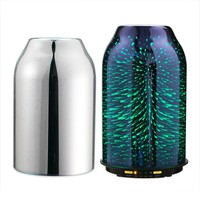 TaoTronics Essential Oil Diffuser with Elegant 3D Glass Build, Compact 6.76 oz / 200 mL Aroma Diffuser, Humidifier for Kids, Comes with 2 Glass Covers, Extra Silver Shade for Free