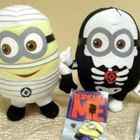 """Hard to Find Adorable Despicable Me Halloween Scary Plush Set Featuring 6"""" Despicable Me Skeleton Minion Doll and 6"""" Despicable Me Mummy Minion Doll"""