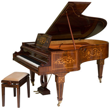 Rare and Historically Significant Marquetry Inlaid Grand Piano, Bösendorfer
