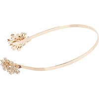 Online Only Rose Gold Floral Rhinestone Head Band
