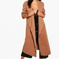Evelyn Waterfall Wool Look Belted Duster | Boohoo