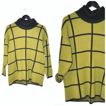 TURTLENECK sweater vintage 80s OP ART geomtetric grid olive green + black cotton pull over hipster jumper