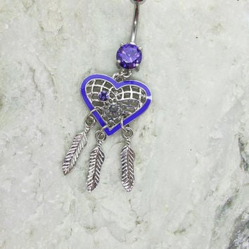 Purple Dream Catcher Belly Button Ring  / Feather  Belly Button Ring /Dreamcatcher Charm /Dangle Navel Piercing Bar Barbell
