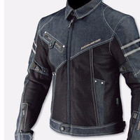 Denim Motocross Jacket with Visible Stitching